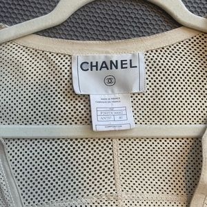 Vintage leather Chanel jacket with silver buttons